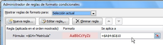 Administrador de reglas de formato condicional