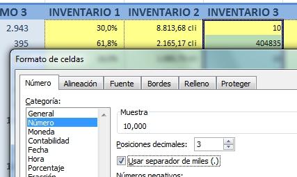 Formato número de INVENTARIO3