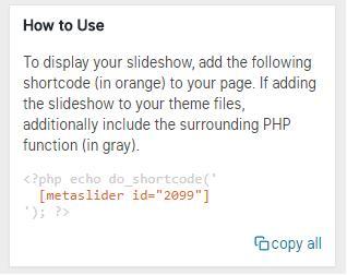 Código para visualizar el slideshow